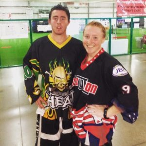 Stephanie & her Brother at Battle For Our Heroes, charity hockey game