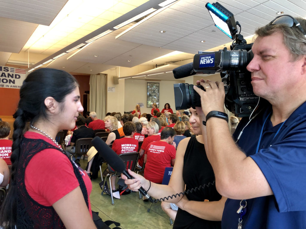 Photo: Lindsay K. Saunders Leah Krevat speaking to Spectrum News on August 17, 2019 about gun sense.